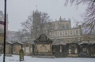 Snowing in Edinburgh, Scotland