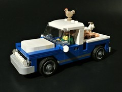 1950s Farm Truck (front) (jgg3210) Tags: lego moc minifigure farm farmer chicken pig goat cmf collectible ford chevy dodge truck 1950s fifties classic old antique vehicle