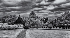 The end of the paths (David Feuerhelm) Tags: monochrome blackandwhite bw schwarzundweiss noiretblanc contrast house thatch cottage rooves trees sky clouds wideangle hadstock cambridgeshire village churchyard gravestones infrared ir silverefex nikon d90 1020mmf456