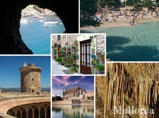 postal fotomontaje de la isla de Mallorca