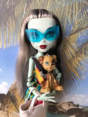 Time to go (Foxy Belle) Tags: monster high dolls beach bathing suits diorama 16 scale playscale vacation frankie stein dog pet watzit