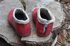 Red Chuvas the final (welliesfan1) Tags: laarzen wellworn wellies regenlaarzen rubberlaarzen regenstiefel rubberboots ripped rainboots stiefel stivali stövlar trashed versleten galoshes gummistiefel wornout