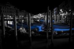 Rialto (Samuli Koukku) Tags: venice 2018 italy grandcanal rialto city cityscape canal gondol night lowkey longexposure travel veneto canon 1dx2 2470 blue artistic architecture boat water bridge
