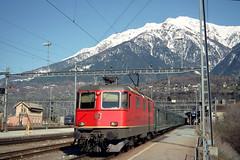 SBB Re4/4II in Brig, March 31, 1999 (swissuki) Tags: sbb switzerland railroads re44i brig