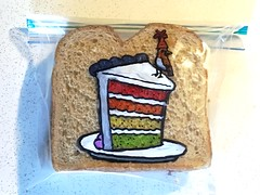 Tiny Bird or Large Cake (D Laferriere) Tags: small large drawing evan happy birthday bird cake rainbow attleboro laferriere sandwich bag art sharpie