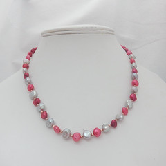 Pearl Necklace with pink and silver pearls: pink pearls; pearl knotting; bridal jewellery; birdesmaid jewellery; wedding jewellery (toriastrinkets) Tags: etsyaaa craftbuzz etsymntt silver bridal gift jewellery necklace