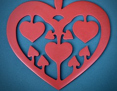 Happiness is symmetrically heart shaped ... :-) (☜✿☞ Bo ☜✿☞) Tags: macromondays linesymmetry colour red blue colourful pattern hmm heart mirror symmetry colours line 7dwf canong16 powershot england britain uk europe european happiness joy fun macro closeup camera love event bright light shade summer2018 june summer challenge topic task ten turquoise shadow