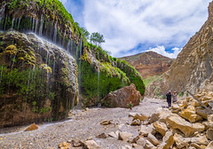 Waterfall in the Aras River Valley, Iran (TeunJanssen) Tags: aras river valley iran waterfall longexposure landscape travel tabriz jolfa traveling worldtravel backpacking olympus omd omdem10 rocks mountain mountains clouds