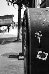 """Time"" exposure (RansomedNBlood) Tags: nikonf charleston street eastman2366 blackwhite bw 35mm wv westvirginia mailbox bokeh"