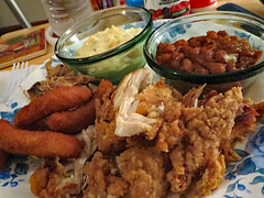 Smithfield's Take Out For Supper. (dccradio) Tags: lumberton nc northcarolina robesoncounty indoor indoors inside food eat takeout smithfields bbq barbecue barbque pork bbqpork barbecuepork barbquepork carolinabbq carolina chicken friedchicken potatosalad bakedbeans hushpuppies meal snack supper dinner lunch canon powershot elph 520hs