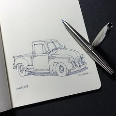 1950's truck (schunky_monkey) Tags: penandink ink pen fountainpen illustration art drawing draw sketchbook sketching sketch automobile auto transportation classic artdeco truck chevy