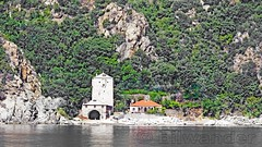Greece, Macedonia, Aegean Sea,  monastery view from a boat cruising around Mount Athos peninsula (Macedonia Travel & News) Tags: greecemacedonia agiooros cruise chalkidiki aegeansea macedoniatravel greece makedonia macedoniatimeless macedonian macédoine mazedonien μακεδονια ancient greek culture vergina sun blog star thessaloniki hellenic republic prilep tetovo bitola kumanovo veles gostivar strumica stip struga negotino kavadarsi gevgelija skopje debar matka ohrid mavrovo heraclea lyncestis history alexander great philip macedon nato eu fifa uefa un fiba macedonianstar verginasun macedoniapeople macedonians peopleofmacedonia macedonianpeople macedoniablog macedoniagreece timeless македонија macedonianews macedoniapress македонијамакедонскимакедонци