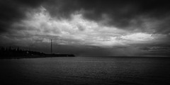 Cape Egmont (Chilanga Cement) Tags: nikon nik bw blackandwhite monochrome princeedwardisland lighthouse sky canada coast coastline sea clouds cloud cloudy nikond850