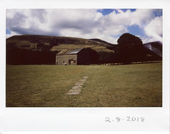 Thursday 2nd August (ronet) Tags: fuji summer thursdaywalk barn drought edale field film instantfilm instax instax200wide kindescout pasture peakdistrict sheep utata utata:project=tw641