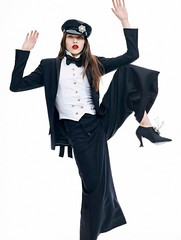 Lily Stewart 2 (drno_manchuria (simonsaw)) Tags: model fashion moda shirt chemise camisa camicie camicia collar cuello knot nudo menswear masculina masculine femenina feminine mujer chick women mulher frauen fille chica suited suit traje trajeada encorbatada de con tie bowtie lazo bond pajarita tuxedo tux esmoquin smoking pantalon pantalones pants jacket blazer actriz coleta shoes elegante sexy botones encamisada red lips labios retrato femme lady formalwear hot black white blanca negra modelo zapatos gorra hat lily stewart