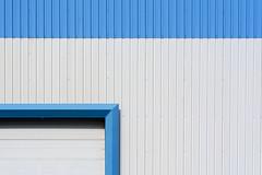 Play of lines with blue and white (Jan van der Wolf) Tags: map17941v edge blue blauw white wit lines lijnen lijnenspel playoflines interplayoflines facade factory blueandwhite simple simpel minimalism minimalistic minimalisme minimal minimlistic katwijk
