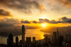 Aerial view of  Hong Kong City skyline at sunrise (MongkolChuewong) Tags: aerial aerialview architecture asia asian background beautiful blue building buildings business china city cityscape district downtown evening harbor harbour hong hongkong kong landmark landscape light metropolis modern mountain office panorama panoramic peak peaks reflection scene scenic sea sky skyline skyscraper sunrise sunset tourism travel traveler tree urban victoria view