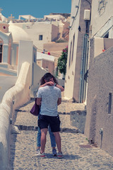 Love Is In The Air (sdupimages) Tags: street rue lovers kiss baiser santorini amoureux homme femme man woman greece grece back candid