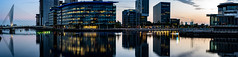 media city pano (Peter Gettings) Tags: bbc media city salford manchester ship canal sony a7iii sigma 85mm 14 night