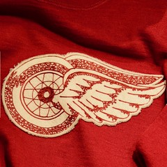 Classic Winged Wheel circa 1935 (R.A. Killmer) Tags: halloffame hockey nhl detroit redwings wheel winged classic jersey red white stitched old sweater canada ontario 1930s
