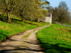Track through mature trees leading to stone barn on sunny spring day on Dales Way near Buckden. (Malc Newell) Tags: track sunny landscape land weather sun agriculture leaves route footpath geographicfeature tree travel yorkshiredales dalesway flora yorkshire farmland dales europe uk england