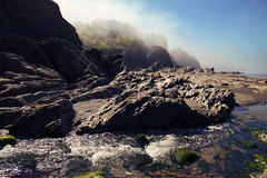 Mysterious North Coast (Christian Hacker) Tags: combemartin devon northdevon north coast coastal rugged rocky stream seafog mysterious sunny water landscape canon eos50d tamron 1750mm geology rockformations trees hill seaweed maritime bluesky misty fog spikey cove