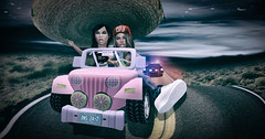 fugitives (BabyGirlMoni) Tags: secondlife muffin muff moni monica mommy police fugitives fantasy barbie jeep power wheels funny humor