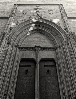 Entrance to Ls Lonja (The Historic Silk Exchange Building - Valencia) (Monochrome) Panasonic LX100