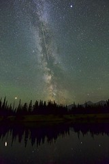 bright perseid august 14 (John Andersen (JPAndersen images)) Tags: alberta andromeda borderfx forest highway66 kananaskis kananaskislake mars milkyway moonless mountains nightlake perseid reflections saturn shoreline summer
