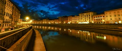 Pisa at night (kalbasz) Tags: pisa city italy outdoor river buildings night arno fuji xt2 xf1024 reflection lights colors clouds