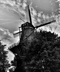 Still standing strong (Ruoska) Tags: windmill monochrome bw amsterdam holland architecture
