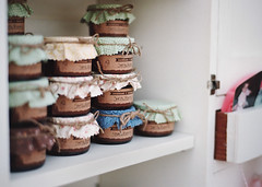 four years and counting, part two (manyfires) Tags: nikonf100 35mm analog film wedding anniversary pendarvisfarm married marriage love august summer party jam jars favors bokeh