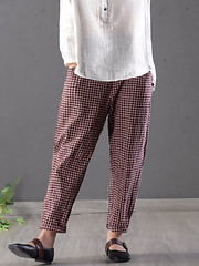 Women Checke Plaid Cotton Loose Waist Pants (1283220) #Banggood (SuperDeals.BG) Tags: superdeals banggood clothing apparel women checke plaid cotton loose waist pants 1283220