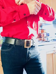 Getting dressed (Leather&DenimNYC) Tags: tightjeans basket bulge belt polishmilitarybelt buckle