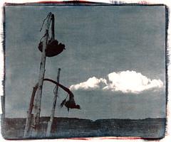 beim vorüberziehen (jo.sa.) Tags: kombination pigmente aquarellpapier kontaktnegative sonnenblumen wolken himmel