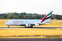 Emirates Airbus A380, Dusseldorf Airport (Frank Cornelissen Photography) Tags: airbus a380 gaint skies biggest airplane world dusseldorf airport germany boeing ryanair ana inspiration japan rolls royce engine emirates fly ek057 flight runway