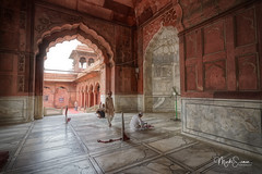 Under the arches (marko.erman) Tags: mughal mosque architecture history religion india minarets towers standstone red marble white courtyard terrace panoramic panorama perspective ciel newdelhi jamamasjid shahjahan arches