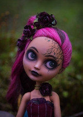 Gloomy Rose (Violet Lightning) Tags: doll ooak dolls eah ever after high cedar wood mattel repaint cusrom art lilac mad forest gloomy dark party tea 5olock flowers rose wild black sisters
