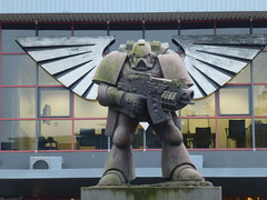 Space Marine (The Chairman 8) Tags: nottingham gamesworkshop spacemarine statue nottinghamshire imperialeagle wings bolter gun powerarmour armour helmet building