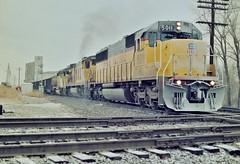 UP 5011 south in Kansas City, Missouri on December 29, 1990. (soo6000) Tags: up unionpacific 5011 up5011 emd sd50 kansascity missouri sheffieldjct coal coaltrain cnanw frost
