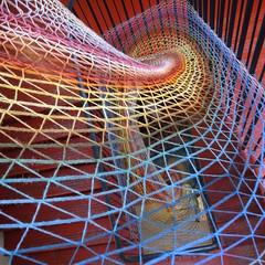 Ricoh GRD IV (Solas beag) Tags: dovecotstudios edinburgh stairway steps ricohgrdiv ricohgrd4 sooc nopp infirmaryroadedinburgh weave art fabric austinohara flickr edinburghartsfestival2018 geometricshape pattern structure spiral triangle thread