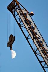 Moon Crane (@FunkyAppleTree) Tags: moon lunar sky crane waxing gibbous astronomy astro dusk blue construction machinery hoist space solar system universe physics science astrophysics load