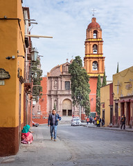 passerby (bugeyed_G) Tags: sanmigueldeallende mexico mexican hispanic colonial street historic mission church unesco worldheritagesite mendicant beggar begging pedestrian steeple architecture