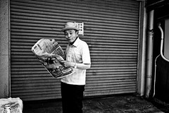 News of the day... (Victor Borst) Tags: street streetphotography streetlife reallife real realpeople asia asian asians faces face candid travel travelling traffic traveling trip urban urbanroots urbanjungle blackandwhite bw newspaper news osaka raw mono monotone monochrome japan japanese streetportrait portrait city cityscape citylife fuji fujifilm xpro2 expression reading