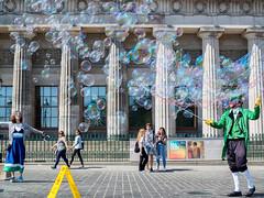 A Thousand and One Bubbles (Graeme Pow) Tags: bubbles edinburgh festival street entertainer city woman man happy