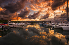 Fiery Sky (Tracey Whitefoot) Tags: 2016 australia tracey whitefoot queensland port douglas marina sunset dusk reflections fire fiery sky clouds boat boats cloud australian coast town