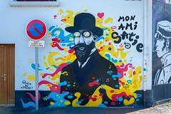 Mon ami Satie, croisé pendant une balade sur la presqu'île. (outadoc) Tags: satie graffiti tag caen piotre phebé