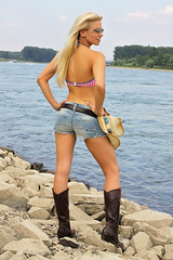 Sandy 66 (The Booted Cat) Tags: sexy blonde hair model cowgirl hotpants jeans belt bikini boots legs cowboyboots