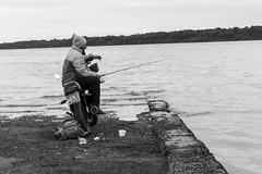 Fisherman and motorcyclist (Luiz Contreira) Tags: fisherman sãoborja riograndedosul fronteira river rio brazil brasil southamerica américadosul moto motorcycle pescador blackwhite bw brazilianphotographer pretoebranco pb men