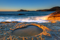 Early Morning Seascape and Rock Pool (Merrillie) Tags: daybreak sunrise morning sunlight nature dawn light coast water northpearlbeach sea newsouthwales rocks pearlbeach nsw rocky waterscape ocean earlymorning landscape waves coastal clouds outdoors seascape australia centralcoast sky seaside